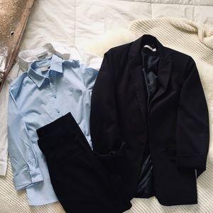 ASOS H&M Business Set Pant Suite White Blue Shirts